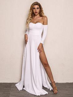 4014579f285 Joyfunear Off Shoulder Split Maxi Dress -SheIn(Sheinside) Dressy Dresses,  Elegant Dresses