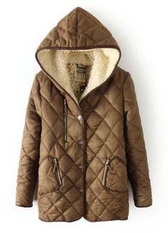 Camel Hooded Long Sleeve Diaper Zipper Pockets Coat