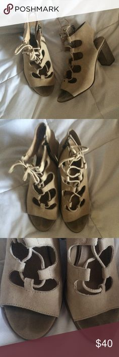 Nude Lace Up Sandals Steve Madden. Worn but in good condition. No stains on suede. True to size. Comfortable fit. Steve Madden Shoes Sandals