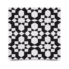 Pack of 12 Affos Black and White Handmade Cement and Granite 8-inch Floor and Wall Tile (Morocco)