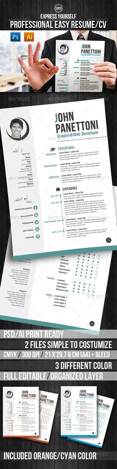 Professional Easy Resume/CV  - Resumes Stationery