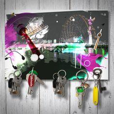 Schlüsselbrett magnetisch / magnetic Keyholder - Düsseldorf bei Nacht / Düsseldorf by night   Format: 18x12cm  Handgemacht / Handmade  gemacht mit ♡ in köln!