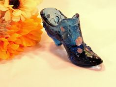 This item is a BEAUTIFUL Vintage Fenton  Cabbage Rose Hand Painted Blue Glass…