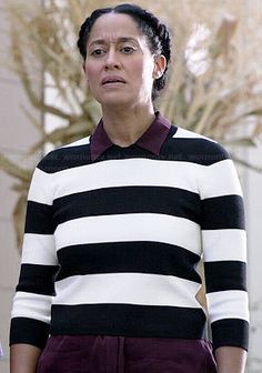 Rainbow�s black and white striped crop sweater on Black-ish.  Outfit Details: http://wornontv.net/39337/ #Black-ish