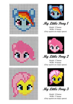 My Little Pony Friendship is Magic hama / perler bead designs Perler Bead Designs, Hama Beads Design, Pearler Bead Patterns, Bead Loom Patterns, Perler Patterns, Weaving Patterns, Cross Stitch Patterns, Color Patterns, Knitting Patterns