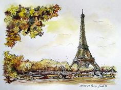 Watercolor landscape Paris