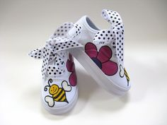Girls Bumble Bee Shoes, Baby and Toddler, Hand Painted, Kids Canvas Sneakers. $30.00, via Etsy.