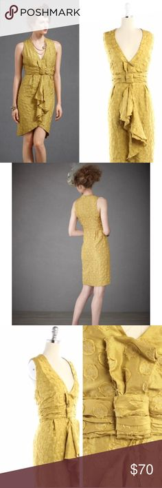 """Anthro """"Quillaree"""" Lemongrass Tethered Dots Dress Dotted with raw-edged appliques, the floaty silk habutai sheathe, hued the peppiest shade of lemongrass, drapes gracefully around you before curving into a tulip hem. Soft ruching and an origami bow draw the eye to your waist. Back zip. Silk; acetate lining. Dry clean. Imported.  A Quillaree original, made exclusively for BHLDN Falls 26"""" from natural waist Anthropologie Dresses"""