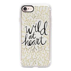 Wild at Heart – Black & Gold on White - iPhone 7 Case, iPhone 7 Plus... (605 ARS) ❤ liked on Polyvore featuring accessories, tech accessories, iphone case, iphone cover case, white iphone case, slim iphone case, iphone cases and apple iphone cases