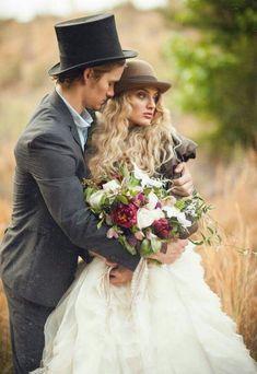 Steam punk wedding theme. What a brilliantly cute idea, especially the hats!