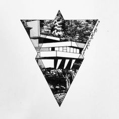 """""""Original Tattoo Design - - $90 Frank Lloyd Wright - Fallingwater (1935) - one of the prime examples of organic architecture in which the structures were…"""""""