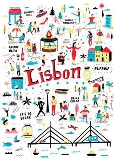 :: No Place Like Lisbon / Lisbon :: Lisbon Map, Lovely Travels, Tourist Map, Country Maps, Travel Maps, Travel Destinations, Vintage Wall Art, Map Design, Most Beautiful Cities
