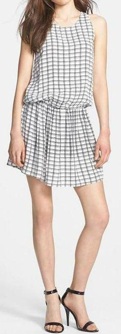 Soft Joie 'Brunhilde' Grid Print Crepe Blouson Dress