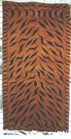 Black and Cinnamon Abstract Tiger Carpet, 3'x6'