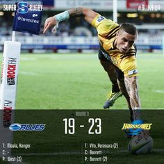 The Hurricanes survived a late charge from the Blues to clinch their first win of the #SuperRugby season.