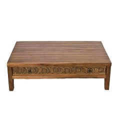 This mid-century modern, solid reclaimed teak coffee table features an antique carved panel drawer, opens both sides. The wood's natural grain and rich patina adds to the visual appeal of the table. Inlaid with vintage on the side to give character to the table.