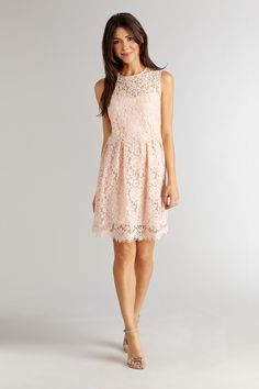 Blush pink lace bridesmaids dress by Donna Morgan. I want this in my closet stat!