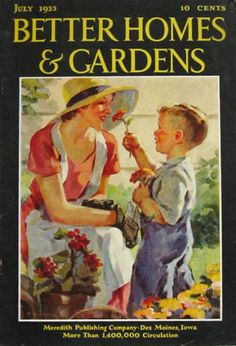 retro son cards | ... Homes & Gardens Cover ~ Mom & Son in Garden, Vintage Magazine Covers