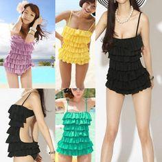Korean Women's Push Up Padded Monokini Swimsuit One Piece Bikini Swimwear | eBay