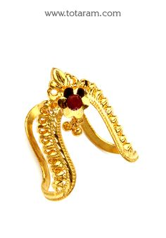 22K Gold  Vanki Ring With Red Stone