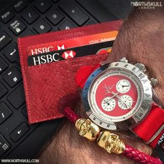 Fan Instagram Pic !   With our luxurious double sided Maroon Python Leather Card Holder to hand @Tiho1 posted a cool photo of his Toy Watch nicely paired with our Deep Red Nappa Leather/ 18kt. Gold Twin Skull Bracelet. Nice Combo   Available Now at Northskull.com [Worldwide Shipping] #Luxury