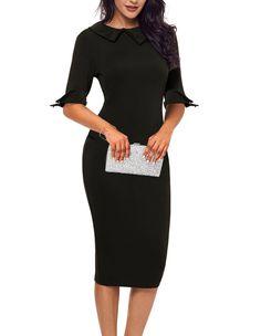 Women Lapel Neck Bodycon Dress Knee Length Formal Wear to Work Office Pencil Dress