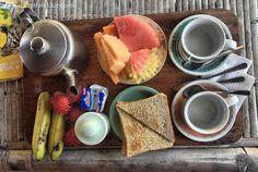 Breakfast in Bali. #Bali #Indonesia #tropicalfruit #herbaltea #sanur