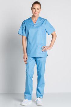 Tunique médicale bleu de France unisexe col en V de DYNEKE est vendu sur la boutique mylookpro.com dans la catégorie Casaque médicale Medical Uniforms, Blouse, Scrubs, Jumpsuit, Clothes, Dresses, Fashion, School, Vestidos