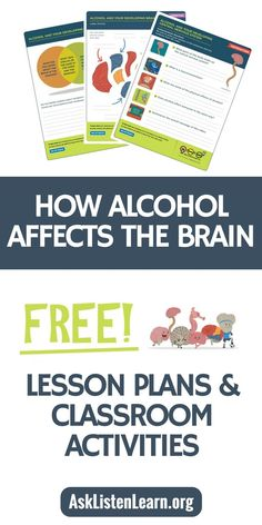 Free lesson plans worksheets activities games and resources to teach kids about alcohol's affect on the developing brain. If you're a teacher counselor or school admin these free resources (including free printables) align to standards and are a fun High School Health Lessons, Middle School Health, School Lessons, Lessons For Kids, The Plan, How To Plan, Health Lesson Plans, Free Lesson Plans, Health Teacher