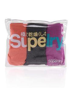 Womens - Standard Briefs Pack in Phosph Coral/dark Marl/hyper Lavender | Superdry