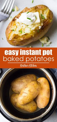 Perfect Instant Pot Baked Potatoes Perfect Instant Pot Baked Potatoes How to cook Baked Potatoes in your Instant Pot! A foolproof recipe for easy pressure cooker baked potatoes, plus how to make Instant Pot baked potatoes with crispy skins. Instant Pot Potato Recipe, Best Instant Pot Recipe, Instant Recipes, Instant Pot Dinner Recipes, Best Dinner Recipes, Recipe For Baked Potato, Easy To Cook Recipes, Instant Pot Meals, Quick Potato Recipes