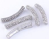 5pcs Curved Side Ways Crystal Rhinestone Bracelet Connector Silver Bar Charm Beads. $4.15, via Etsy.