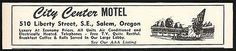 City Center Motel Ad Salem Oregon AC Pool TV 1964 Roadside Ad Travel