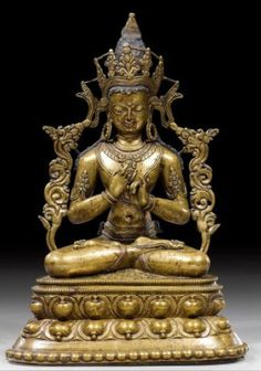 14th-15th century, Western Tibet, Vairocana, copper alloy with copper inlay and pigments