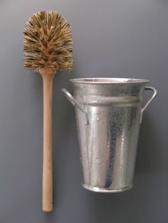 Toilet Brush and Holder This wooden toilet brush with natural fibre bristles comes with a galvanised bucket holder. A decent wooden toilet brush is hard to