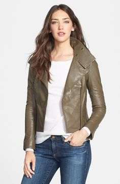 Free shipping and returns on Mackage 'Besa' Leather Moto Jacket at Nordstrom.com. Lambskin leather shapes a sleek moto jacket with an oversized convertible collar to frame the face. Channel quilting details the shoulders in addition to a back panel between two zippered vents.