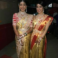 Gorgeous in Gold!Harika Kishen and Manisha Danam look spectacular in Abu Jani Sandeep Khosla Couture. South Indian Sarees, South Indian Bride, Indian Wedding Jewelry, Indian Bridal, Indian Jewelry, Bridal Jewelry, Pattu Sarees Wedding, Bridal Jewellery Inspiration, Indian Wedding Couple Photography