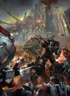 Big battle between space marines and tau.