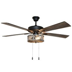 Abbigail Woodgrain Caged Farmhouse 5 Blade Ceiling Fan with Remote, Light Kit Included Caged Ceiling Fan, Led Ceiling, Ceiling Decor, Dining Room Ceiling Fan, Ceiling Fan Chandelier, Ceiling Fan Direction, Ceiling Fan Makeover, White Light Bulbs, Ceiling Fan With Remote