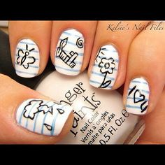 Notebook paper doodle nails