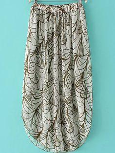 Multicolor+Elastic+Waist+Printed+Long+Skirt+14.99