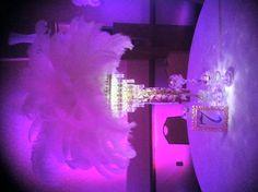 Purple Bat Mitzvah Event Decor White Feather Centerpieces Party Perfect Boca Raton, FL 1(561)994-8833