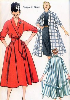 1950s LOVELY Swing Coat, Robe  or Wrap Coat Dress Pattern SIMPLICITY 3761 Beautiful Design Size Small Vintage Sewing Pattern