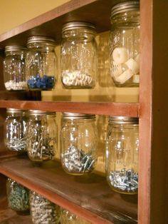 Items similar to Grandpa's Old School Mason Ball Jar Organizer Medium Garage Craftroom – OOAK Ready to Ship on Etsy – Garage Organization DIY Garage Organisation, Diy Garage Storage, Workshop Organization, Shed Storage, Tool Storage, Diy Organization, Storage Ideas, Storage Solutions, Organizing Ideas