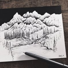 More mountains and trees and rivers…REALLY love this style /// art by Sam Larson