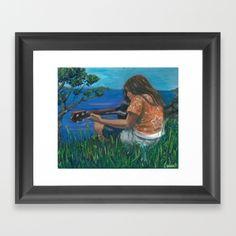 Playing ukulele Framed Art Print