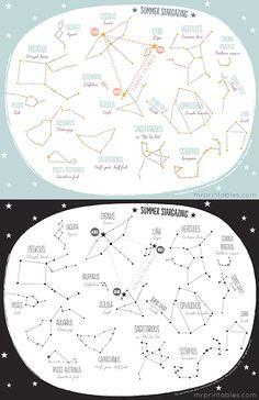 FREE Printable Summer Stargazing Constellation Map