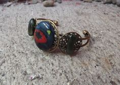 Funky Bangle Bracelet/ Fused Glass Cuff/Jewelry by FancyThatFusion, $27.00