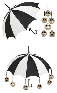 DIY: Lisbeth Dahl Black And White Stripe Umbrella and a set of Jack Skellington ornaments make a great Burtonesque decoration that can be hung over the buffet table.