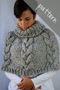 Ravelry: Braided Cable Poncho Cape pattern by Ashley Lillis Knitted Cape, Knit Cowl, Knitted Shawls, Crochet Shawl, Cable Knit, Knit Crochet, Poncho Cape, Pull Torsadé, Crochet Capas